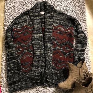 Black and maroon aztec print chunky cardigan